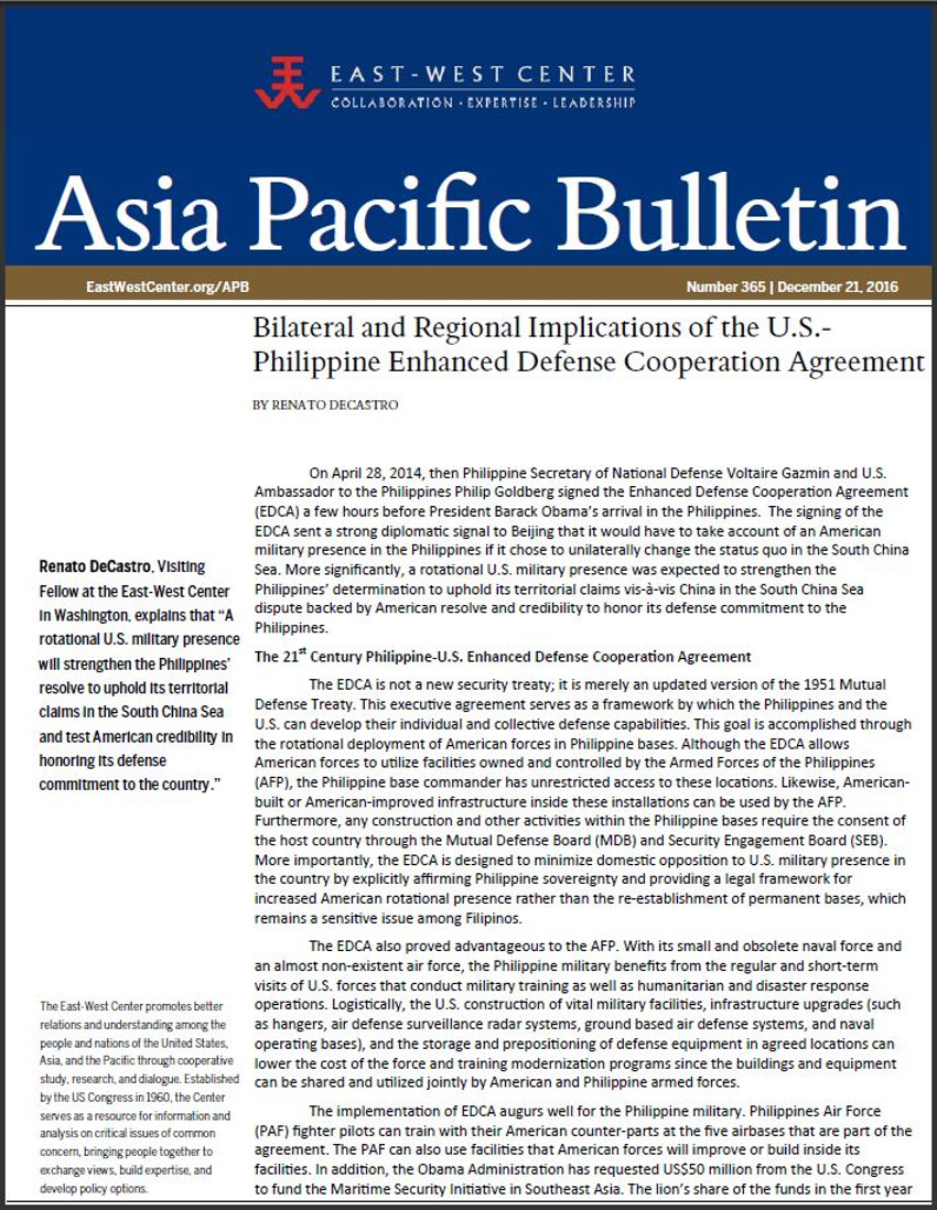 Bilateral And Regional Implications Of The Us Philippine Enhanced