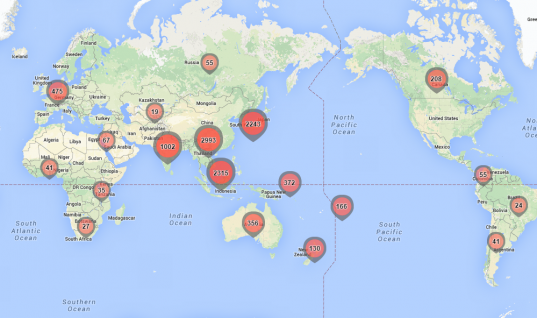 East-West Center International Participants (click here to enlarge map)