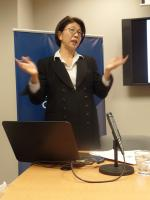 Saori Katada argues to the audience that Japan will benefit from the TPP.