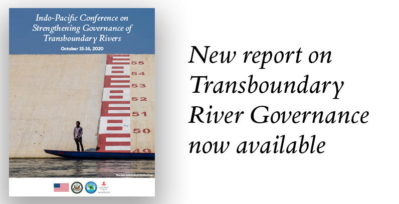 Cover of new EWCW Indo-Pacific Conference on Strengthening Governance of Transboundary Rivers report