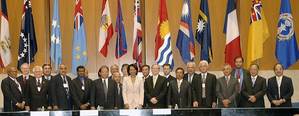 Former US Secretary o State fCondoleeza Rice with Pacific Island leaders