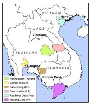 study areas for project on changes in rice farming in mainland Southeast Asia