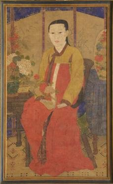 Image of a young woman sitting in a chair wearing traditional Korean dress (hanbok) and holding a spray of peonies in her hand.