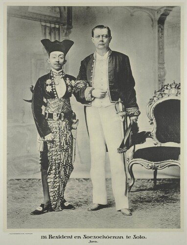 Photograph of Pakubuwono X, the Susuhunan of Solo (Surakarta, Java) and the Dutch Resident, Willem de Vogel, taken around 1897.
