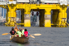 Environmental activists from the Duwamish Tribe protest an arctic oil drilling rig in 2015. Photo: Karen Ducey/Getty Images