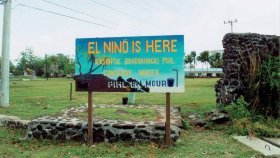 Sign warning Pacific Island residents of drought due to El Nino.