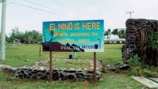 Sign warning Pacific Island residents of El Nino-related drought
