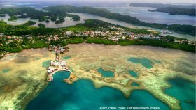 Aerial view of Koror, Palau