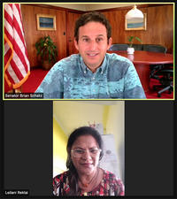 US Senator Brian Schatz speaks with a reporter from Palau on Zoom.