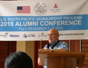 East-West Center President Richard Vuylsteke speaks at the USSP alumni conference.