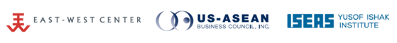 Logos of the East-West Center, US-ASEAN Business Council, and ISEAS Yusof Ishak Institute