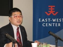 (Click to enlarge) 2012 Asia Studies Visiting Fellow, Ja Ian Chong presents his research at the East-West Center in Washington.