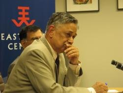 (Click to enlarge) Retired Vice Admiral R.N. Ganesh, takes a question from the audience at his talk at the East-West Center in Washington.
