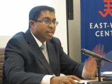 Sri Lankan Supreme Court Attorney Saliya Pieris speaks at the East-West Center in Washington.